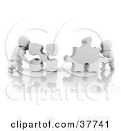 Clipart Illustration Of 3d White Characters Pushing Two Jigsaw Puzzle Pieces Together To Fit