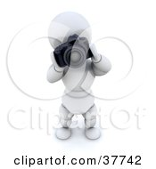 Clipart Illustration Of A 3d White Character Photographer Operating A Professional Camera