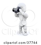 Clipart Illustration Of A 3d White Character Photographer Holding A Camera by KJ Pargeter