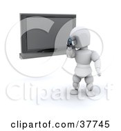 Clipart Illustration Of A 3d White Character Filming A Home Video With A Handy Cam In Front Of A Wall Mounted Plasma TV by KJ Pargeter