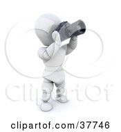 Clipart Illustration Of A 3d White Character Photographer Tilting His Camera Upwards by KJ Pargeter