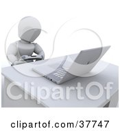 Clipart Illustration Of A 3d White Character Playing A Video Game With A Controller And Laptop Computer