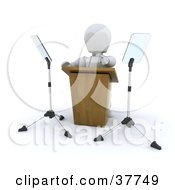 3d White Character Politician Pointing While Giving A Powerful Speech Behind A Podium
