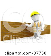White Character Using A Trowel To Assemble A Brick Wall
