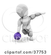 Clipart Illustration Of A White Character Bending Down To Release A Bowling Ball by KJ Pargeter