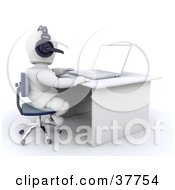 3d White Character At A Desk Using A Headset And Laptop