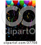 Clipart Illustration Of Colorful Confetti And Helium Filled Balloons And Streamers On A Black Background