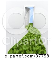 Clipart Illustration Of A Path Of Green Grass Curving To A Doorway With Clouds Beyond