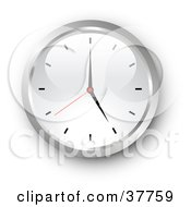 Clipart Illustration Of A Chrome And White Wall Clock