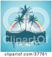 Clipart Illustration Of A Dripping Grunge Text Box With Three Palm Trees And A Rainbow On A Blue Background With Faint Circles