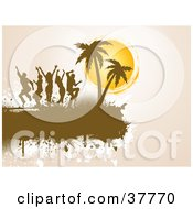 Clipart Illustration Of Silhouetted People Dancing Near Palm Trees On A Grunge Brown Text Box Over Beige