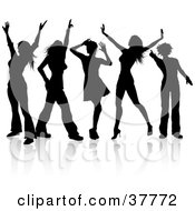 Clipart Illustration Of Five Disco Diva Dancers Silhouetted In Black