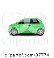 Clipart Illustration Of A 3d Green Compact Car In Profile by KJ Pargeter