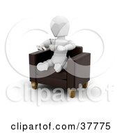 3d White Character Sitting In A Leather Arm Chair Sipping A Latte