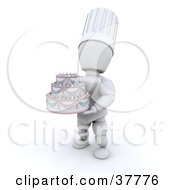 3d White Character Baker Chef Holding A Beautiful Wedding Cake