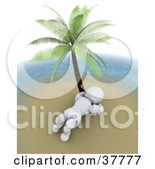Clipart Illustration Of A 3d White Character Resting Under A Palm Tree On A Deserted Island by KJ Pargeter