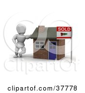 Clipart Illustration Of A 3d White Character Home Owner Or Realtor Leaning Against A Sold Brick Home by KJ Pargeter
