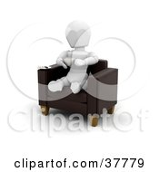 Clipart Illustration Of A 3d White Character Drinking Coffee While Sitting In A Cafe Chair