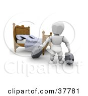 Clipart Illustration Of A 3d White Character With Luggage Near A Bed In A Hotel Room by KJ Pargeter