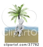 Clipart Illustration Of A 3d White Character On Vacation Relaxing Under A Palm Tree On A Deserted Island