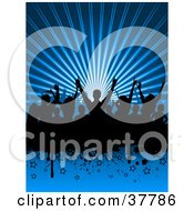 Clipart Illustration Of A Black Silhouetted Dancing Crowd On A Bursting Blue Background With Stars