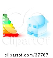 Clipart Illustration Of A Blue House And A Colorful Energy Rating Graph