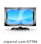 Clipart Illustration Of A Blue Screensaver On A Generic LCD TV by KJ Pargeter
