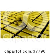 Clipart Illustration Of Gold Bullion Bars Resting On Organized Stacks Of Gold by KJ Pargeter
