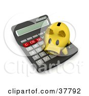 Clipart Illustration Of A Golden Piggy Bank Atop A Calculator by KJ Pargeter