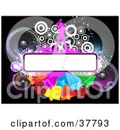 Clipart Illustration Of A Person Dancing On A White Text Box On A Cluster Of Stars With Speakers And Circles by KJ Pargeter