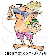 Clipart Illustration Of A Relaxed Guy In Shorts Holding A Cocktail And Adjusting His Sunglasses While On Vacation by gnurf