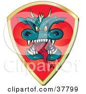 Clipart Illustration Of A Red Shield With A Dragon Head And Gold Trim by Paulo Resende