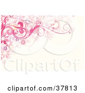 Clipart Illustration Of A Grunge Textured Pink And Purple Floral Corner by OnFocusMedia