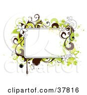 Clipart Illustration Of A Blank Text Box With Green And Brown Grunge Flowers And Splatters by OnFocusMedia
