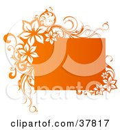 Clipart Illustration Of A Gradient Orange Text Box With Floral Vine Corners by OnFocusMedia