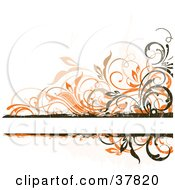 Clipart Illustration Of A Blank Text Bar Bordered In Orange Beige And Dark Brown Grunge Vines by OnFocusMedia