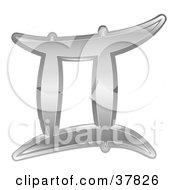Shiny Silver Gemini Zodiac Astrology Symbol