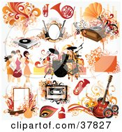 Clipart Illustration Of Women And Music Design Elements