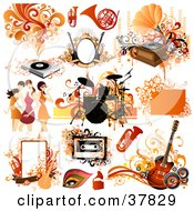 Clipart Illustration Of Musical Instruments Women And Design Elements