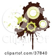Three Brown And Green Grungy Gear Cogs With Splatters And Drips