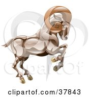 Clipart Illustration Of Aries The Ram With The Zodiac Symbol by AtStockIllustration