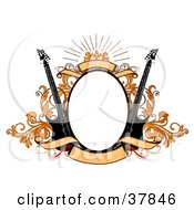 Clipart Illustration Of A Blank Oval Bordered In Orange Vines And Banners With Two Black Electric Guitars by OnFocusMedia