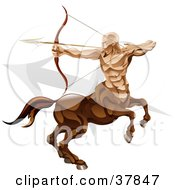Clipart Illustration Of Sagittarius The Archer Centaur With The Zodiac Symbol by AtStockIllustration