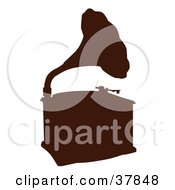 Clipart Illustration Of A Brown Phonograph Silhouette