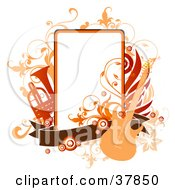 Clipart Illustration Of A Guitar Trumpet And Vines Around An Orange Text Box With A Brown Banner by OnFocusMedia