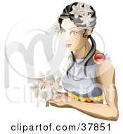 Virgo The Virgin Woman With Flowers And The Zodiac Symbol