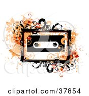 Orange Grungy Vines And Splatters Around A Cassette Tape