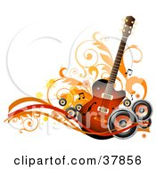 Clipart Illustration Of A Guitar With Orange And Black Speakers Waves Vines And Splatters