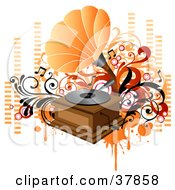 Vintage Orange And Wooden Phonograph Playing Music With Orange And Red Vines Circles And Equalizer Bars