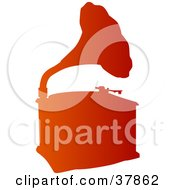 Clipart Illustration Of A Gradient Orange Phonograph Silhouette